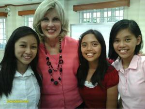 Anna, Ella, and April with Sister Elaine Dalton, Young Women General President ♥