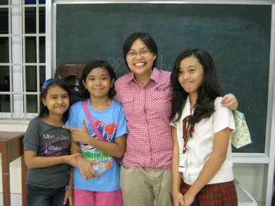 with her Primary students